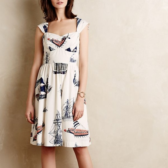 Anthropologie Bon Voyage Dress by Girls From Savoy Fit and flare Cotton L NEW